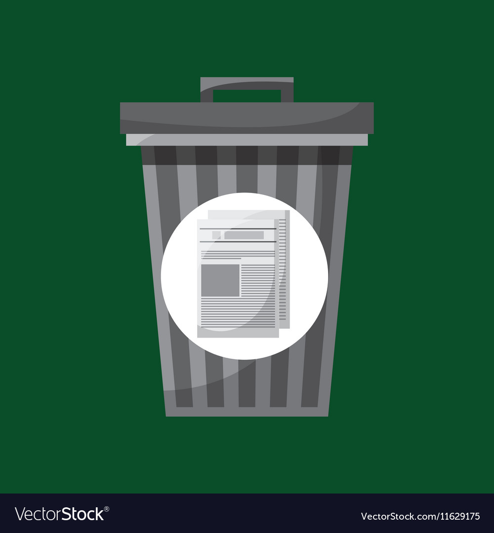 Trash can and paper recycling icon