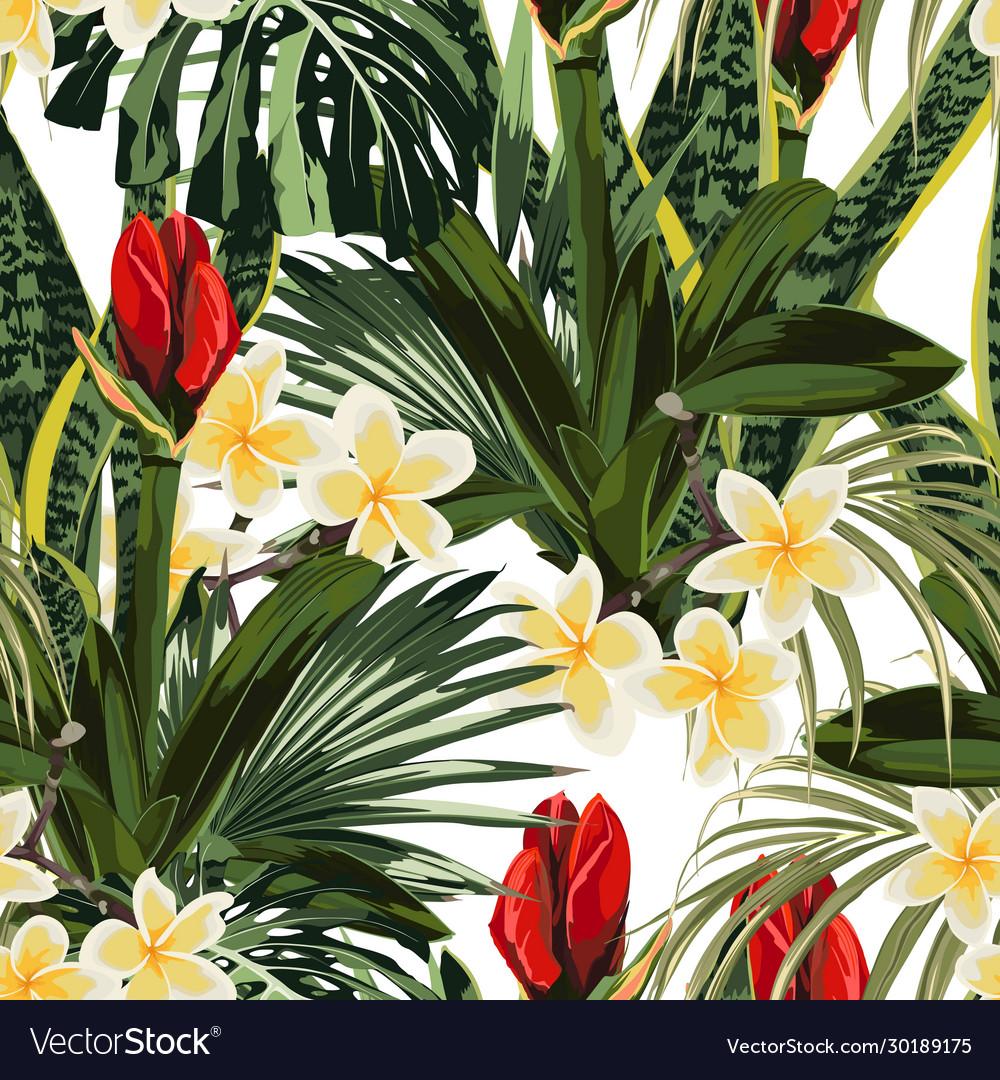Tropical lilies bud plumeria flowers seamless