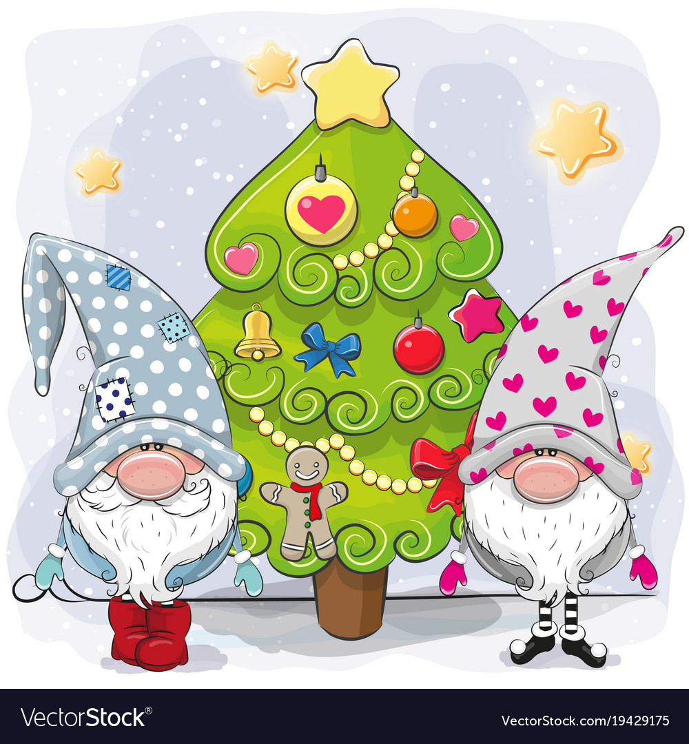 Christmas Gnomes Images.Two Cute Gnomes And Christmas Tree