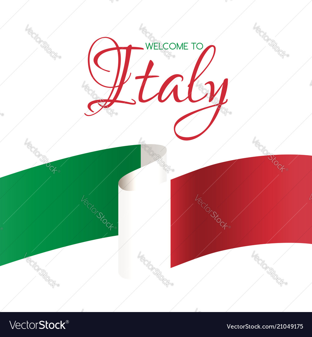 Welcome to italy card with flag italy