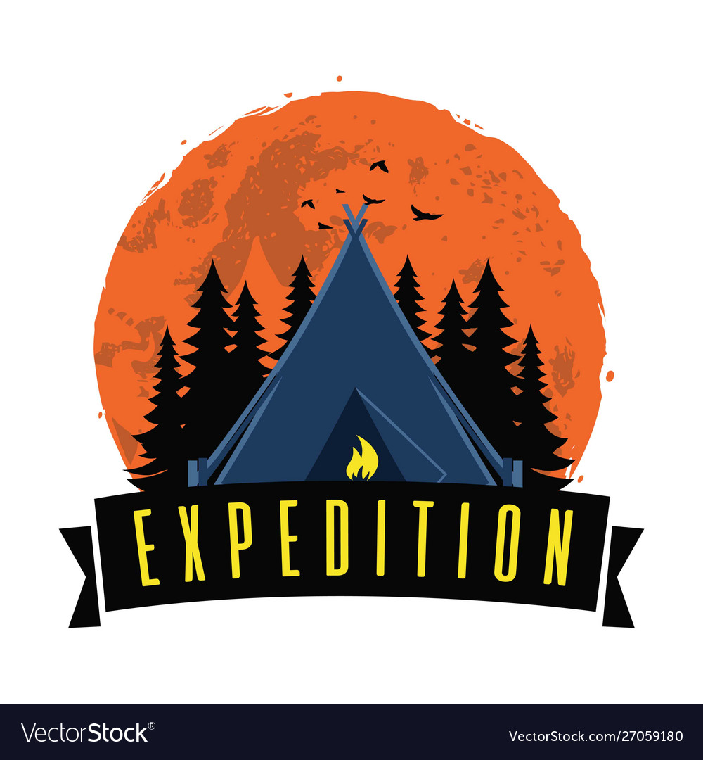 Adventure night expedition campfire camping logo
