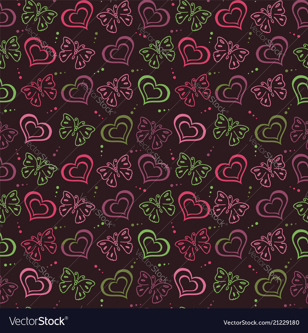 Butterfly love hand drawn pattern
