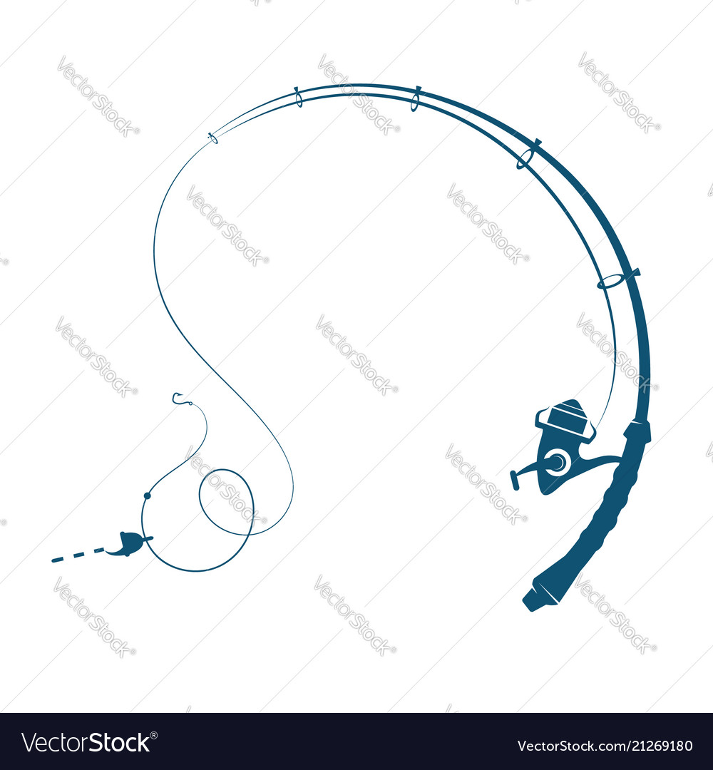 Fishing rod silhouette vector image