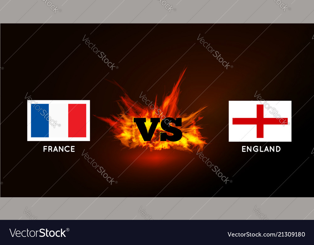 Flags of france and england against the vs symbol