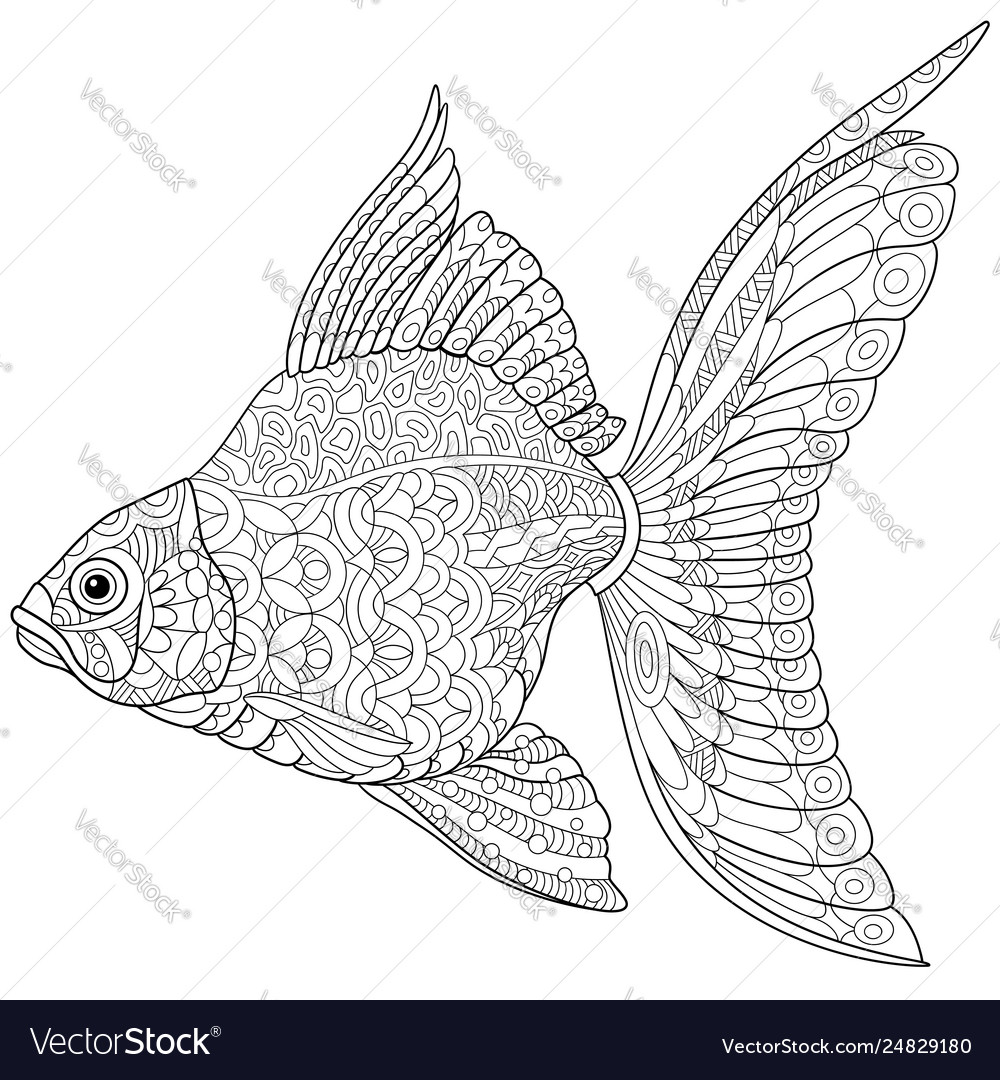 Goldfish adult coloring page