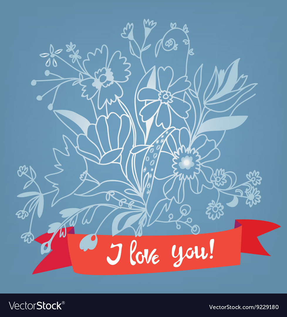 Love you floral card with lettering - retro style