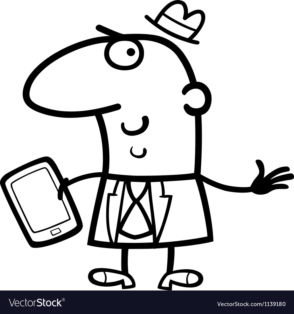 Man with tablet cartoon vector image
