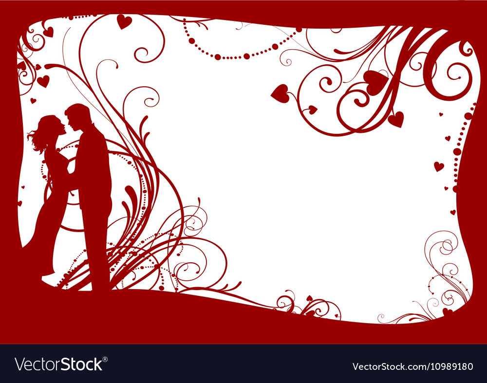 Valentines frame with couple Royalty Free Vector Image