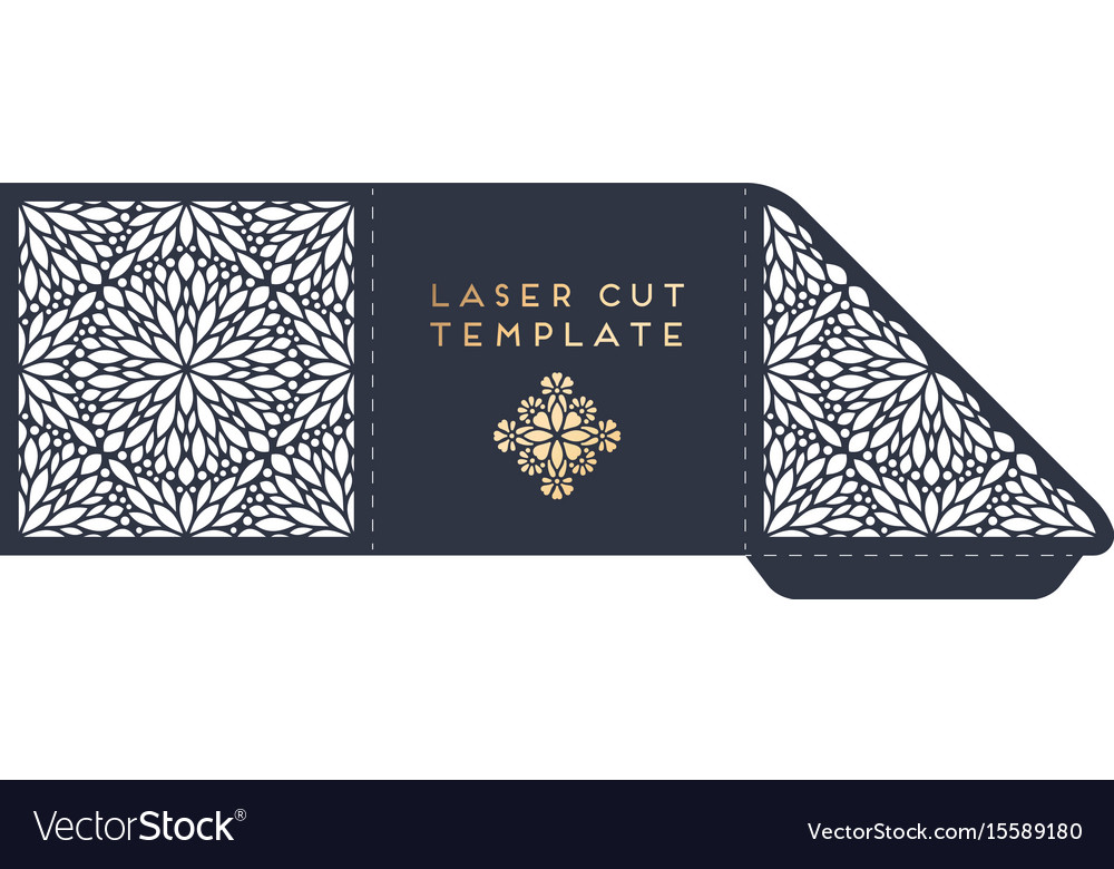 Wedding card laser cut template with