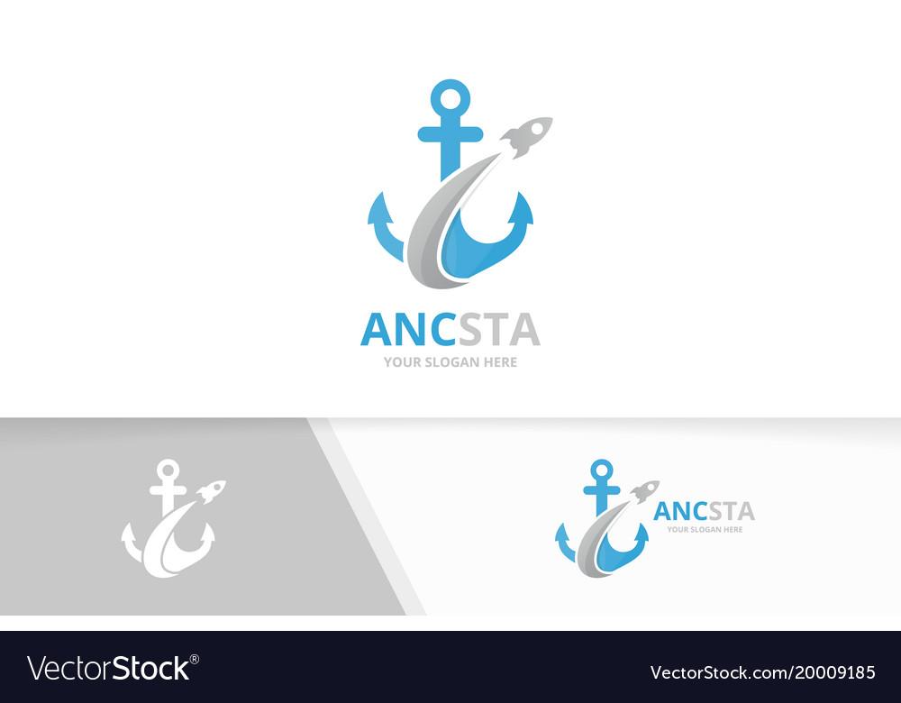 Anchor and rocket logo combination marine