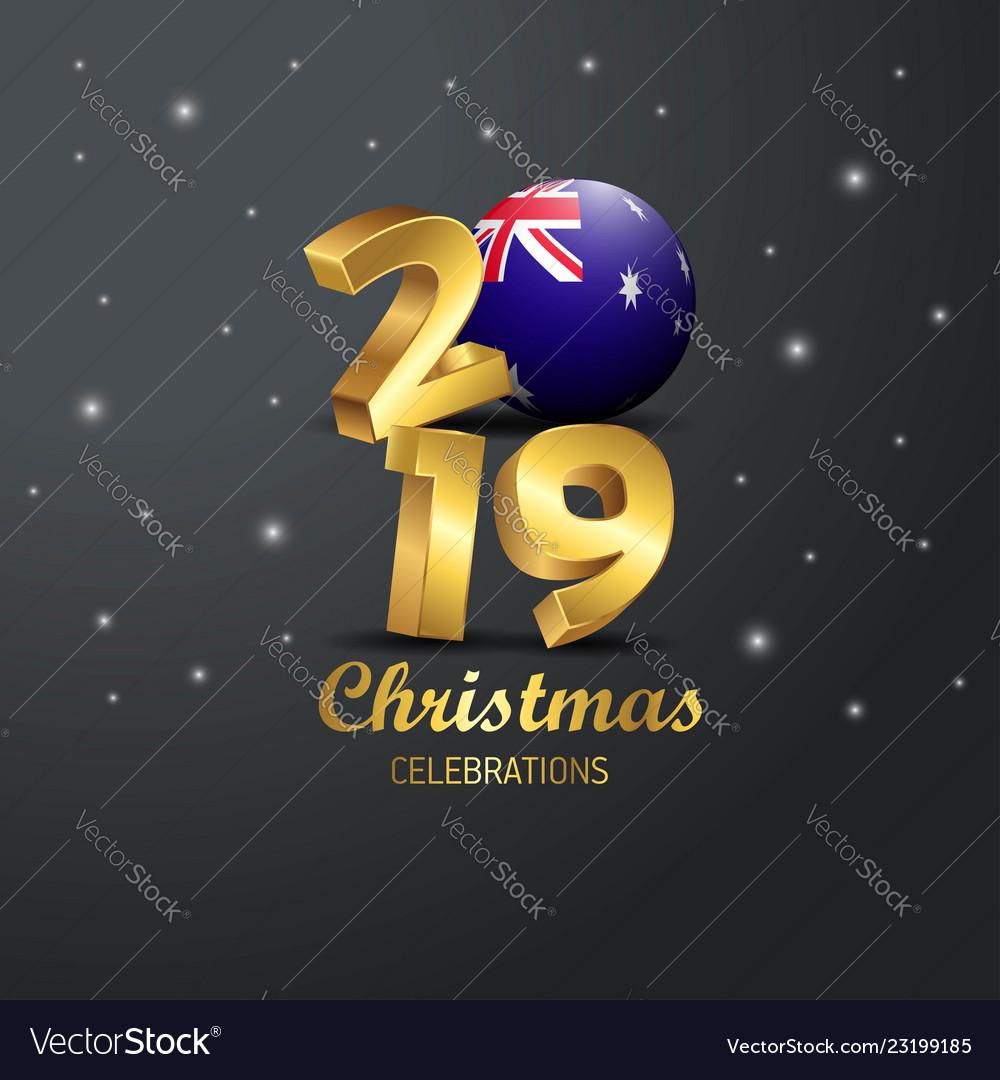 Australia Christmas 2019 Australia flag 2019 merry christmas typography Vector Image