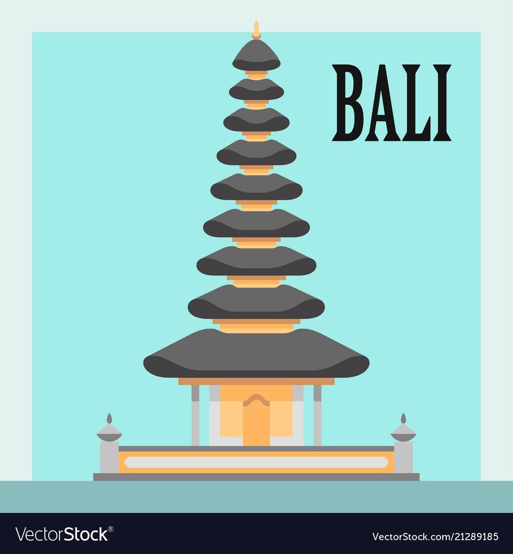 Bali temple flat style