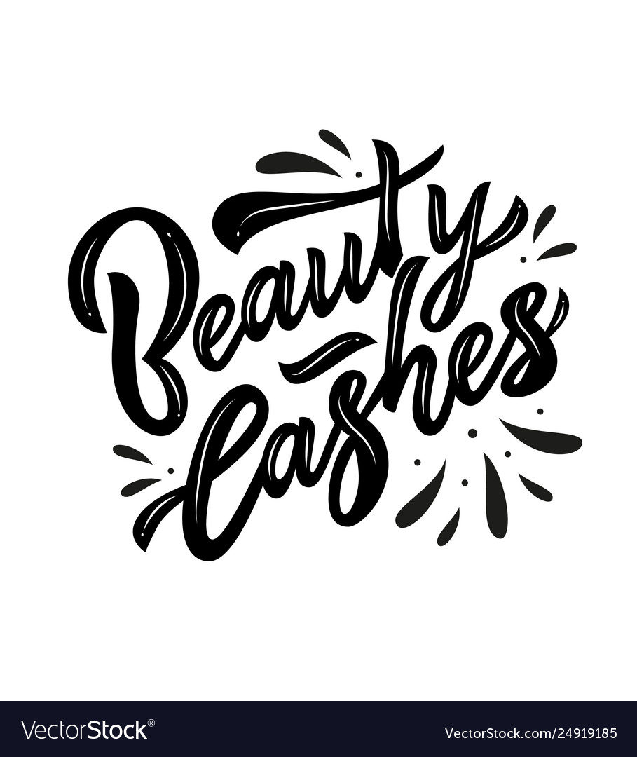 Beauty lashes hand calligraphy lettering