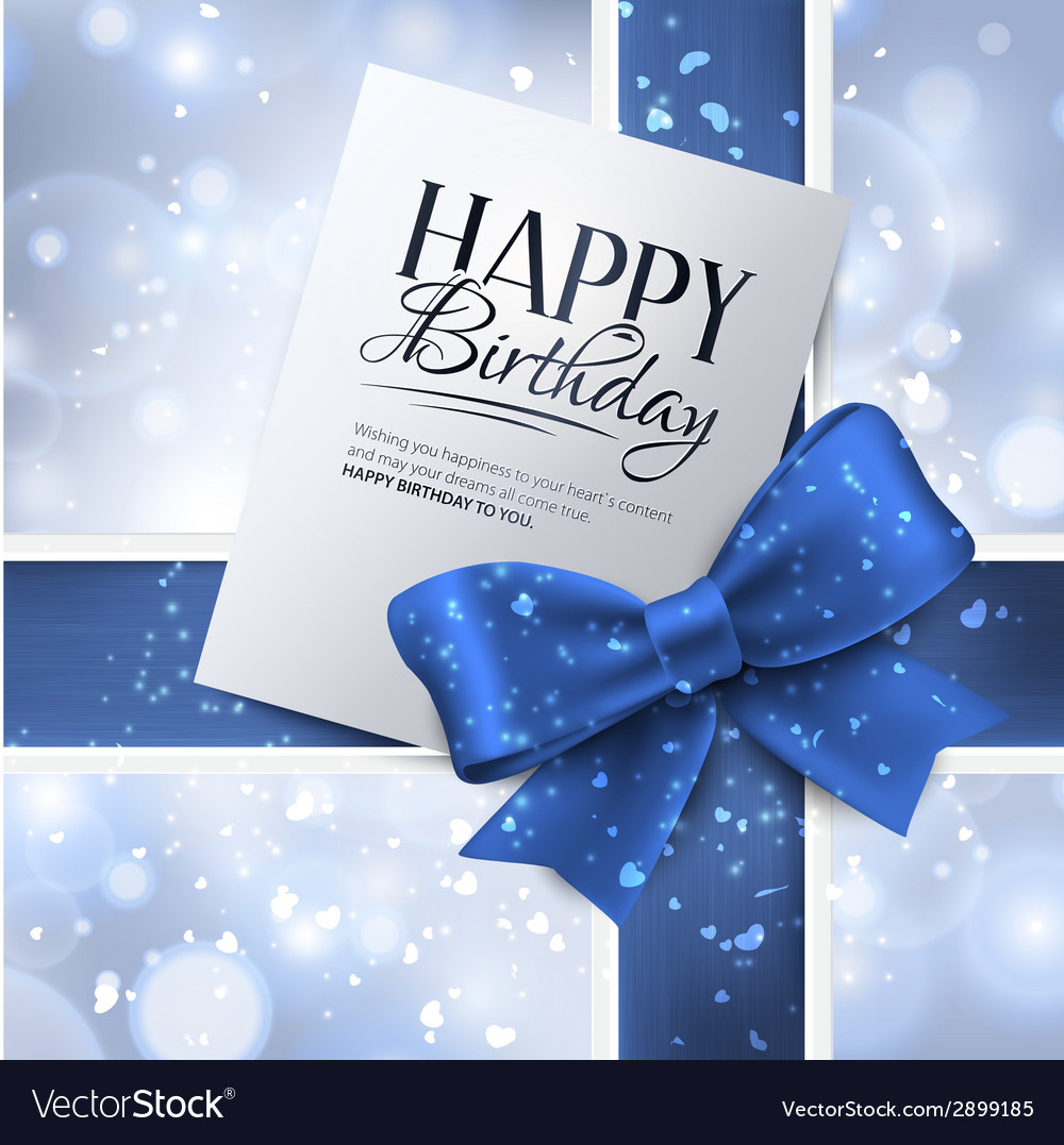 Birthday card with blue ribbon and birthday text