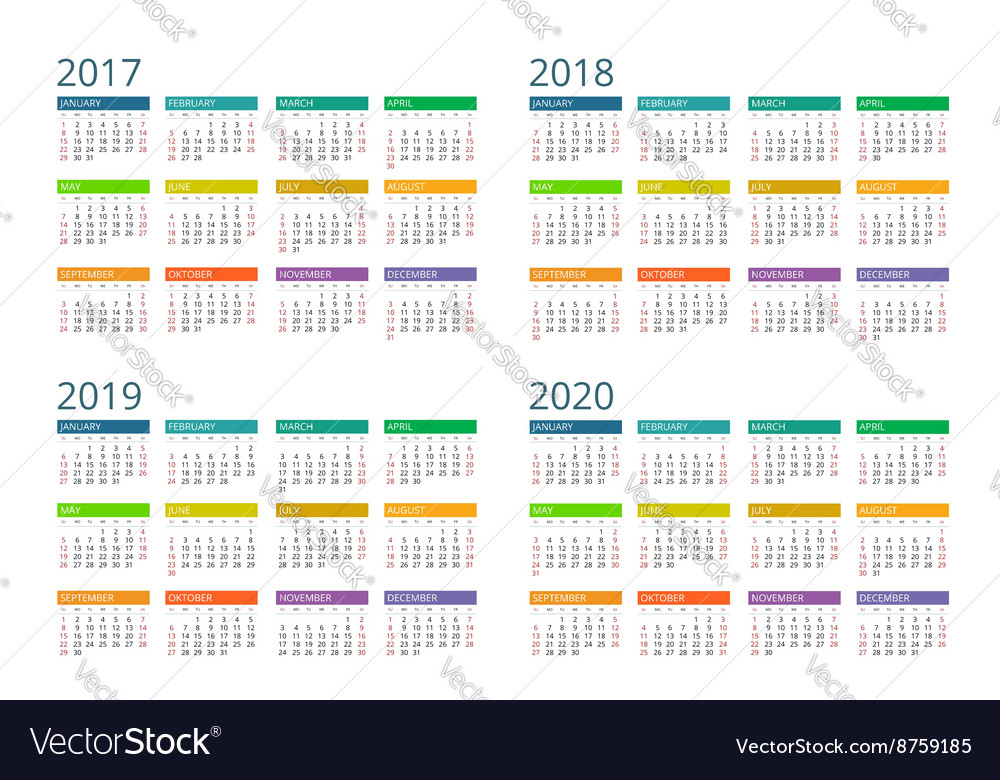 Calendar for 2017 2018 2019 2020 Week Starts vector image