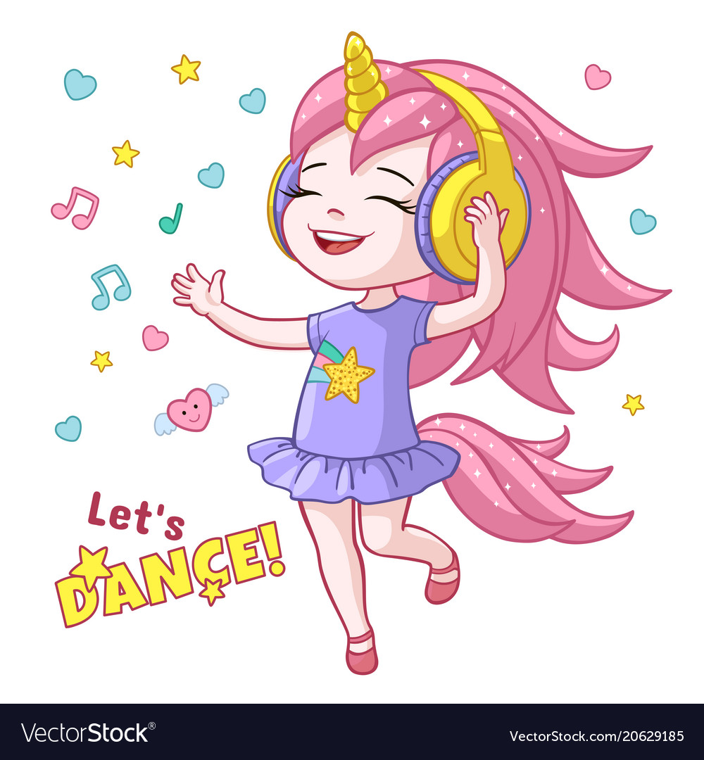 Cartoon girl kid dancing headphone horn