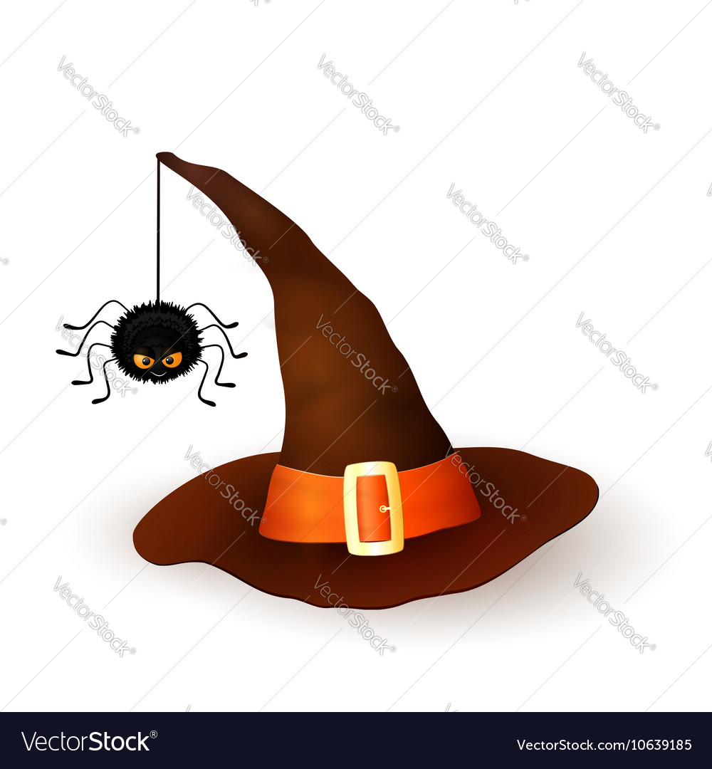 fb0d3fe9d Cartoon Halloween 3d witch hat with hanging spider