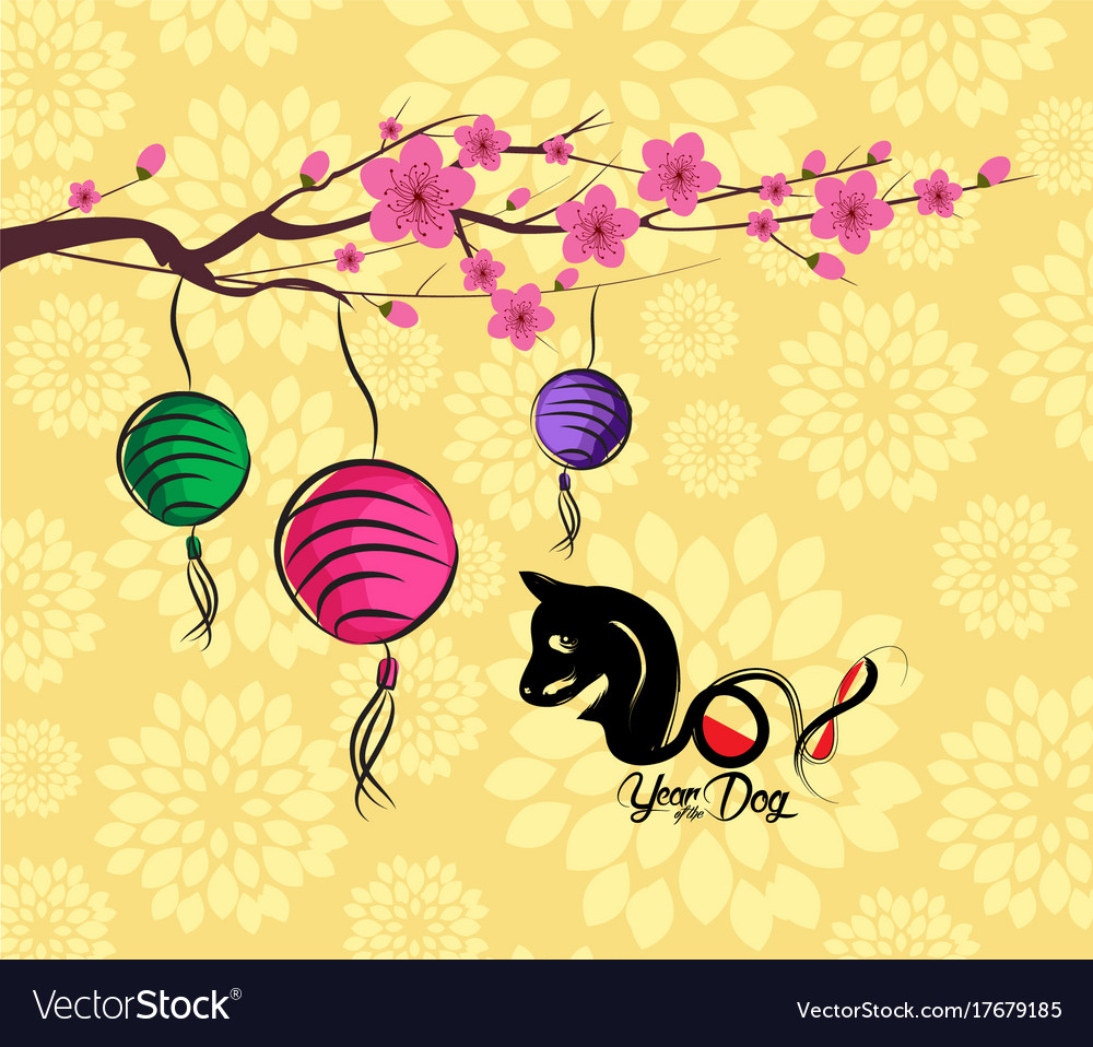 chinese new year 2018 lantern and blossom vector image