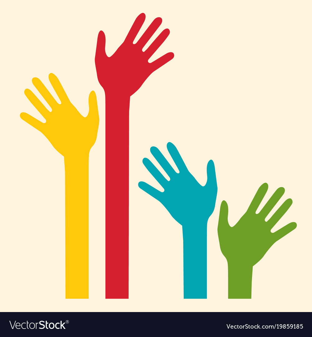 Colorful palm hands vector image