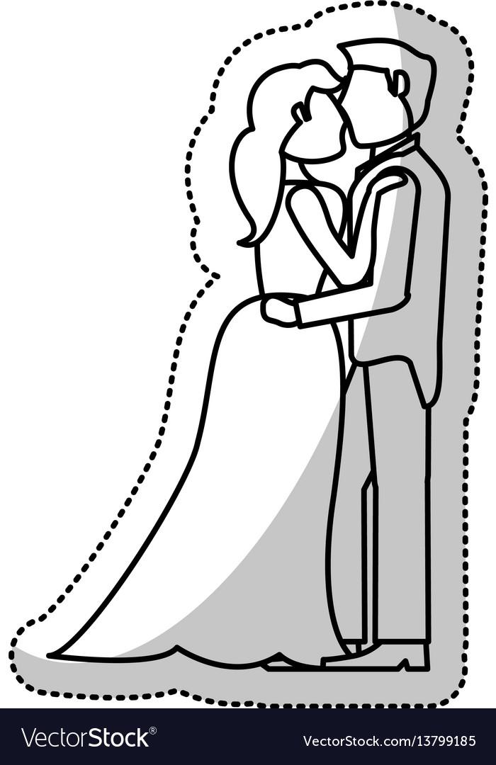 Couple embrace wedding romantic outline vector image