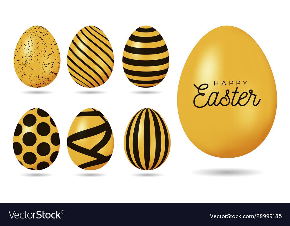 Gold easter egg happy easter 7 realistic golden