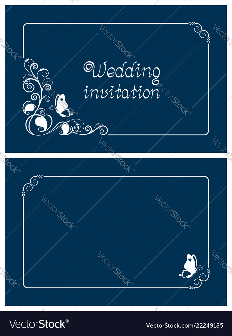 Horizontal blue wedding and save the date cards