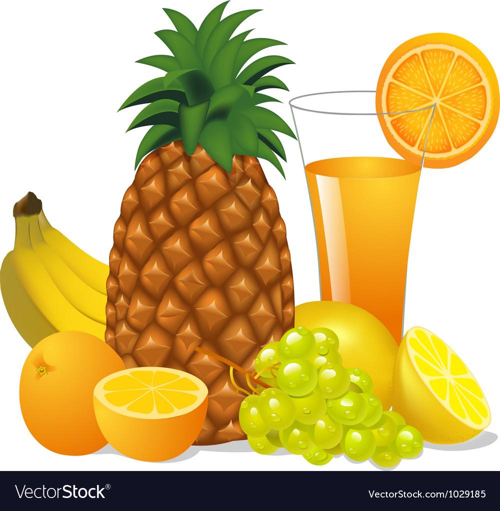 Juice and fruits banana pineapple orange grape vector image