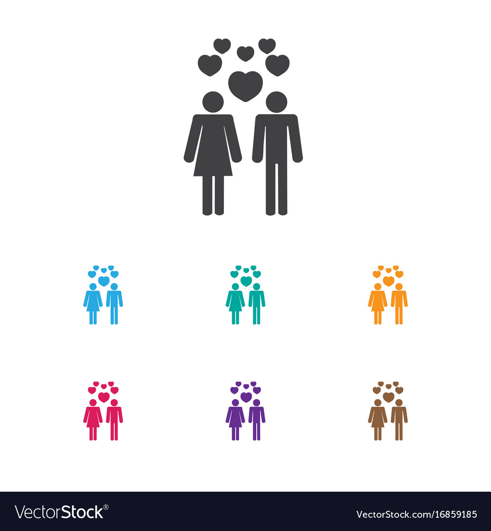Of love symbol on people icon vector image