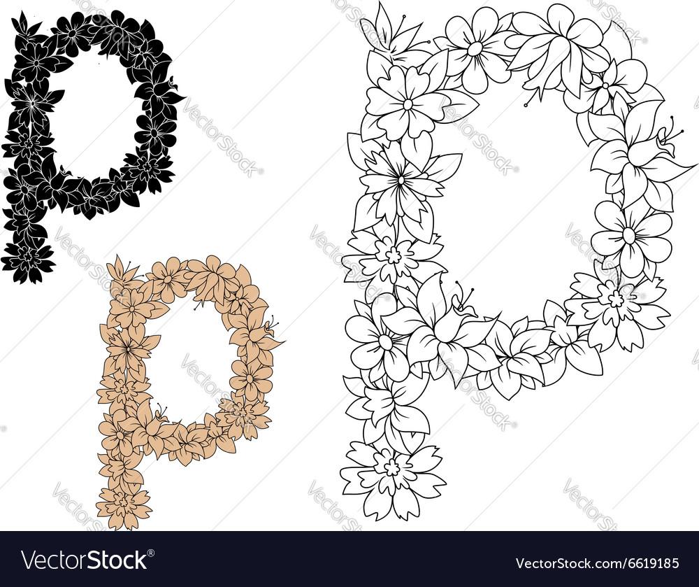 Retro floral small letter p
