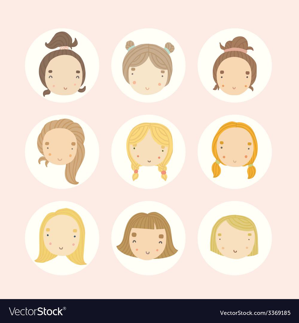 set of 9 cartoon girls faces royalty free vector image