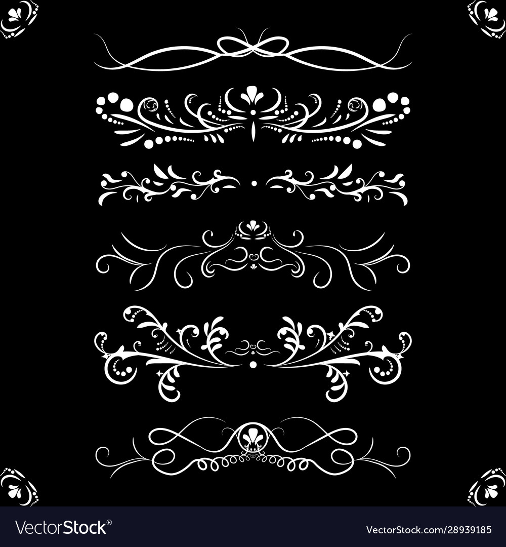 Set ornate page decor ornaments patterns divider