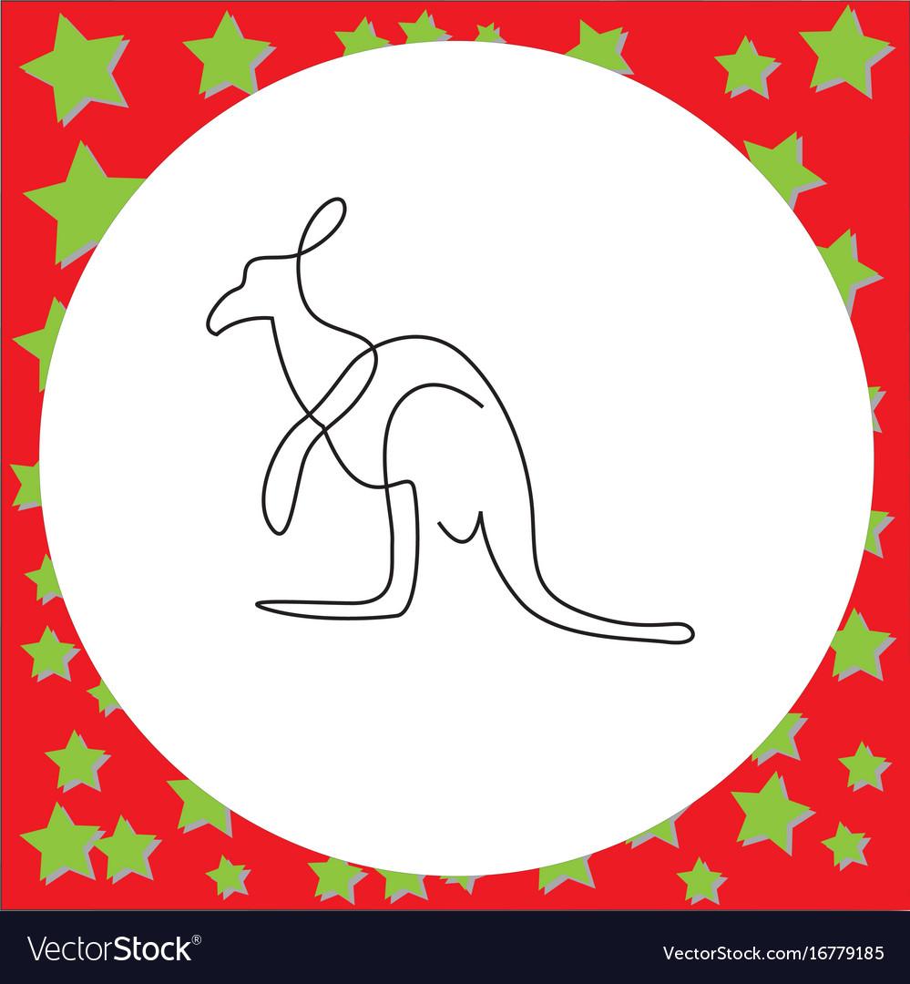 Thin black one line design of kangaroo hand drawn