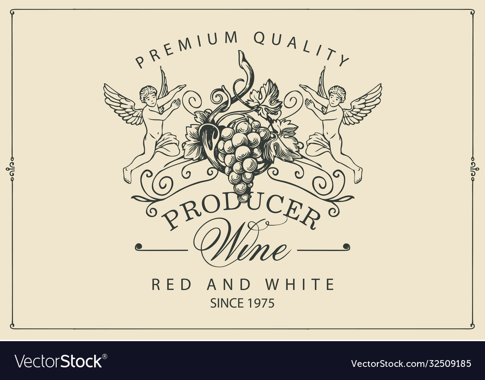 Wine label with hand-drawn grapes and angels