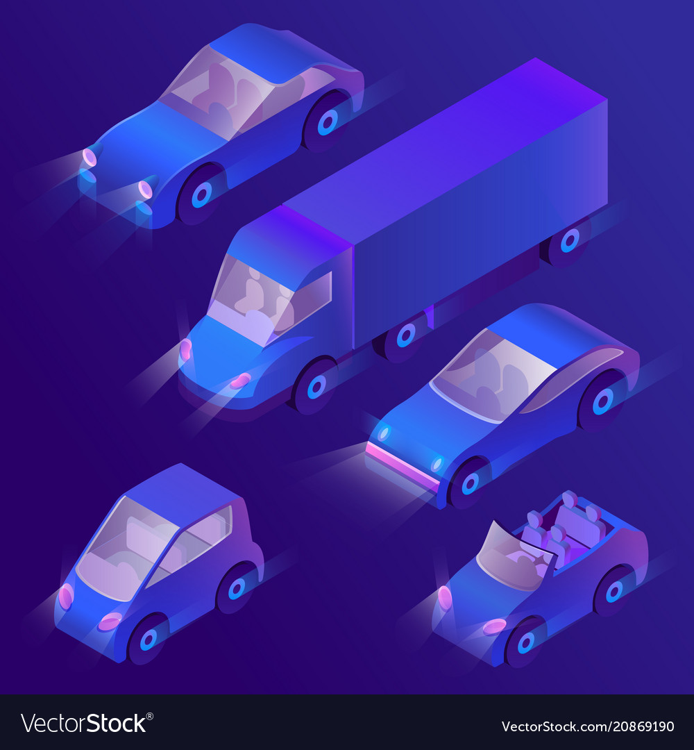 3d isometric violet cars with headlights