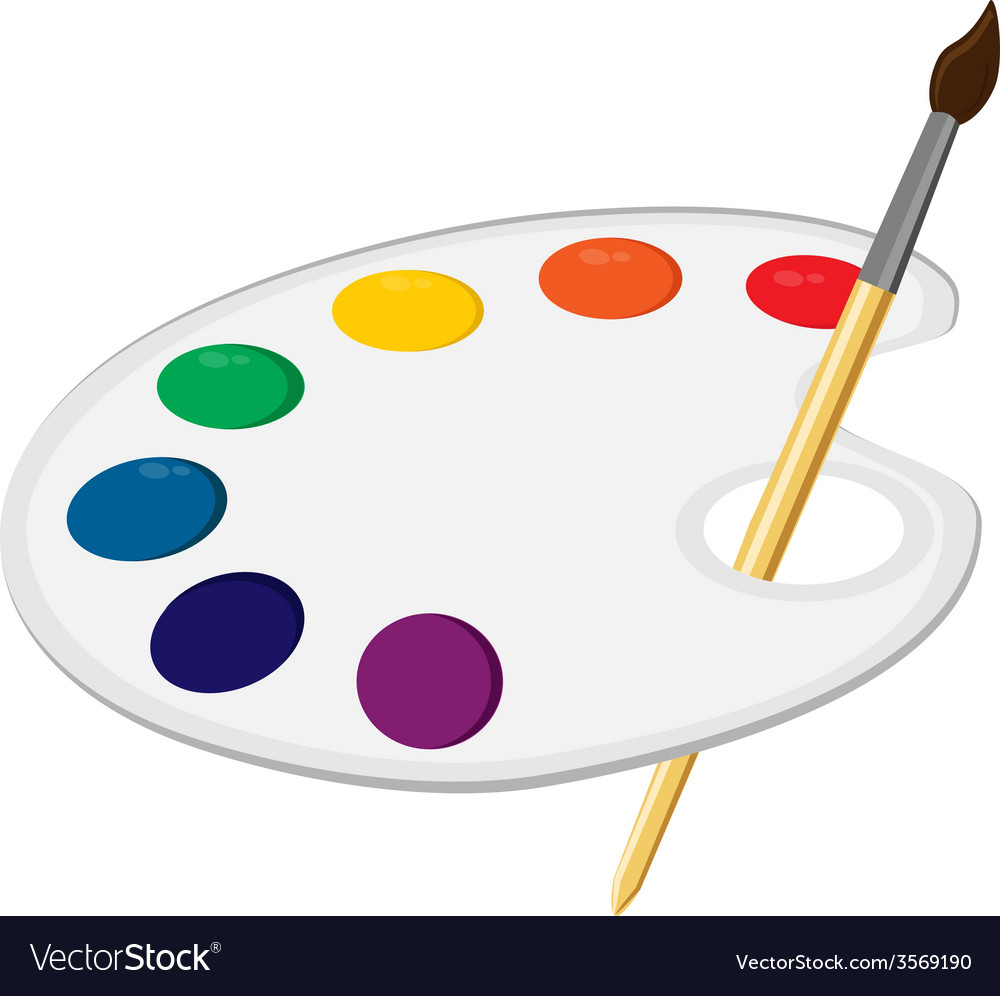 Art palette with paintbrush