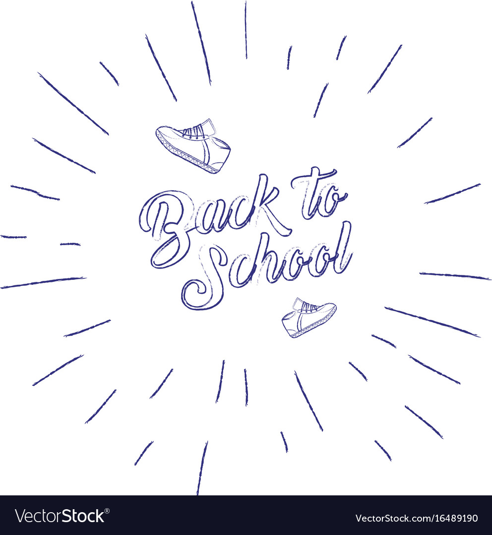 Back to school banner with sneakers and sunburst vector image