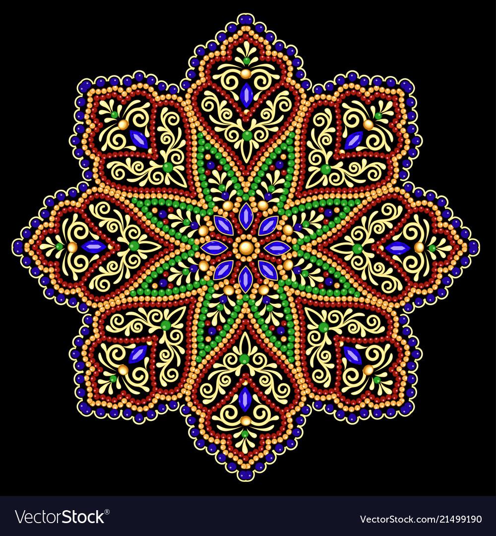 Background circular ornaments of precious stones