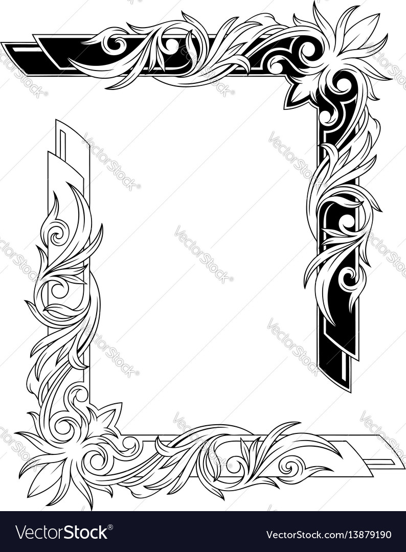 Black and white graphic tattoo frames set Vector Image