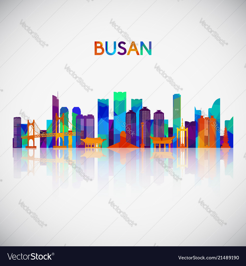 Busan skyline silhouette in colorful geometric