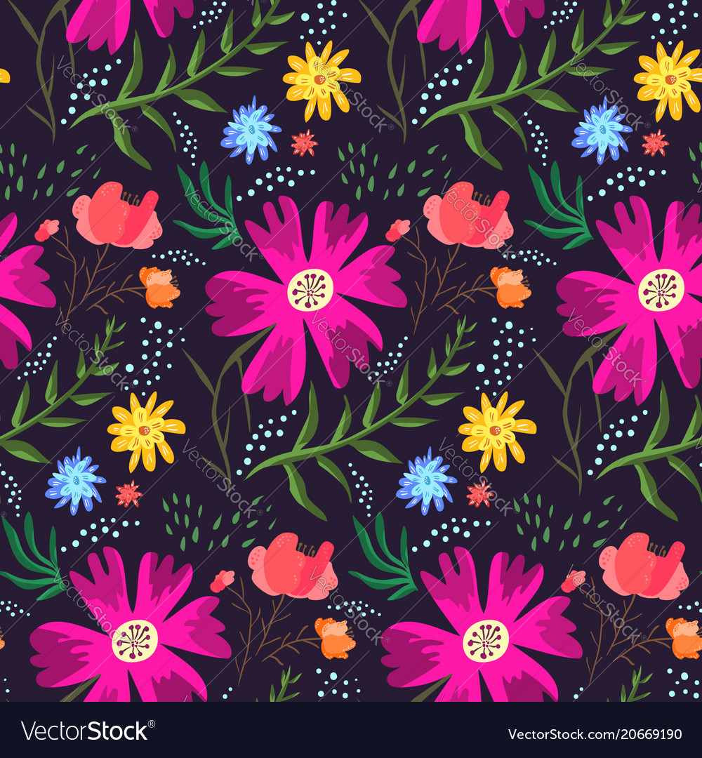 2bd07dd8 Contrast floral summer pattern of rich colors Vector Image