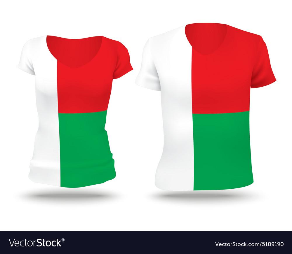Flag shirt design of Madagascar vector image