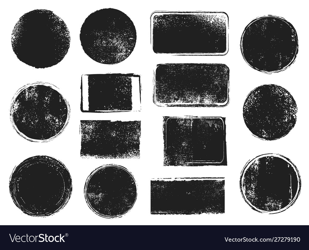 Grunge post stamps round and rectangular badges