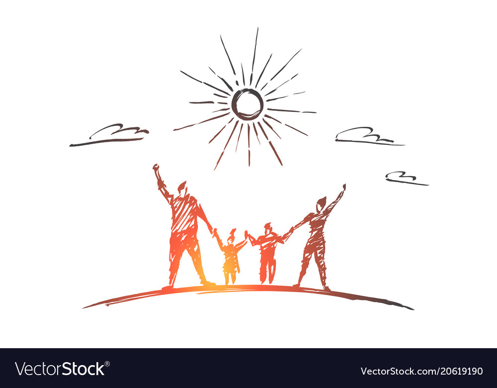 Hand drawn family with two children outdoors vector image