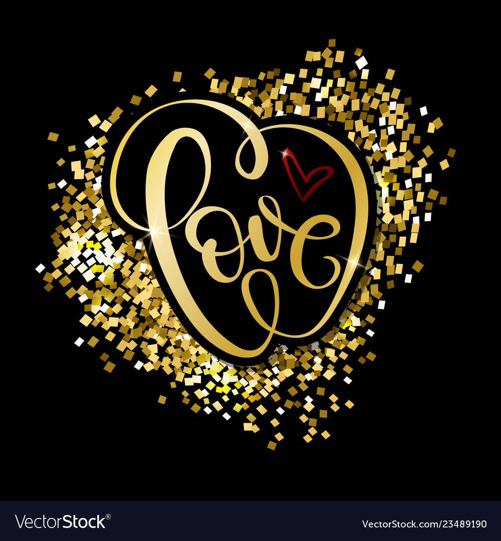 Love word gold hand drawn lettering