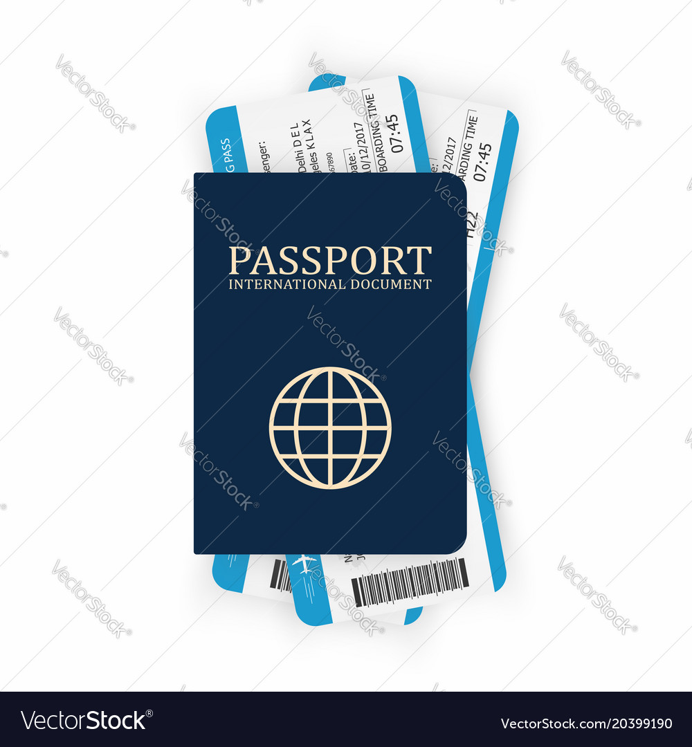 Passport with boarding pass two airplane tickets