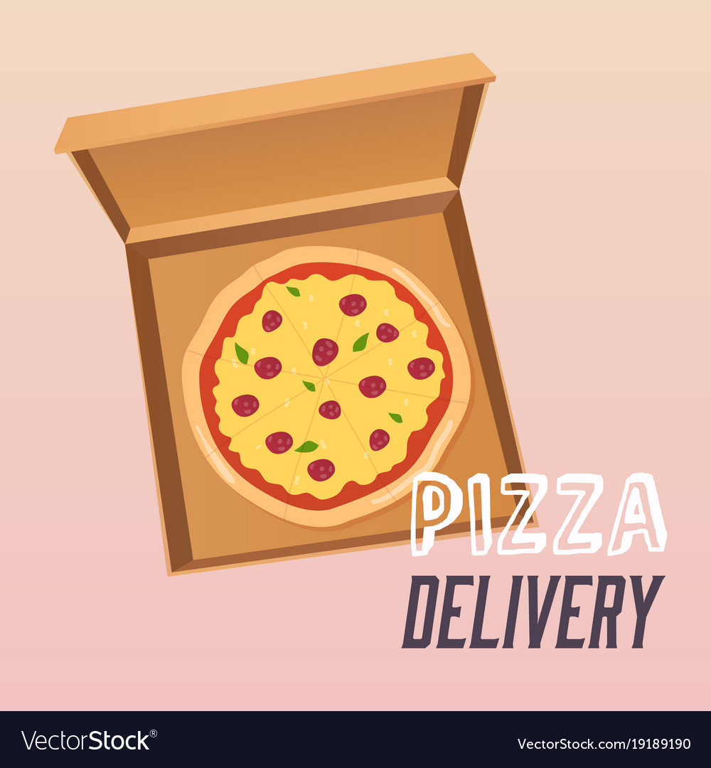 Pizza in the opened cardboard box delivery flat