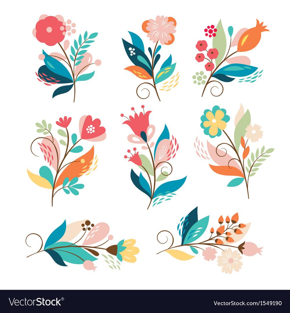 Set cute cartoon flowers