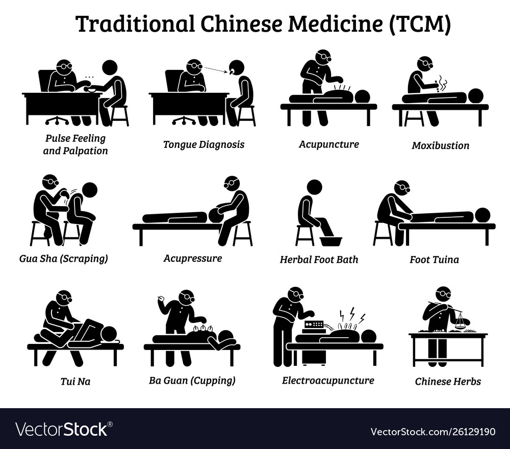 Tcm traditional chinese medicine icons and