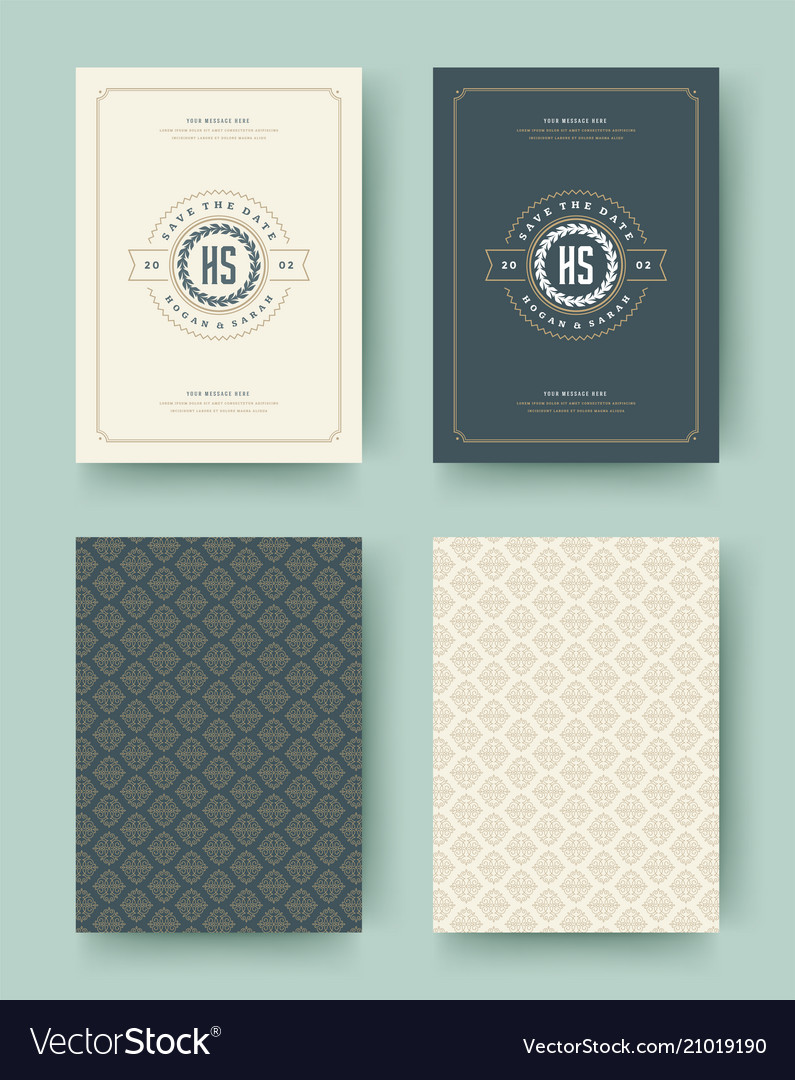 Wedding invitation save the date cards vintage