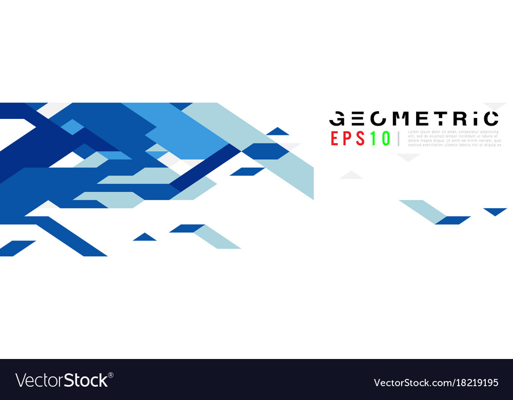 Abstract geometric triangle blue banner mosaic